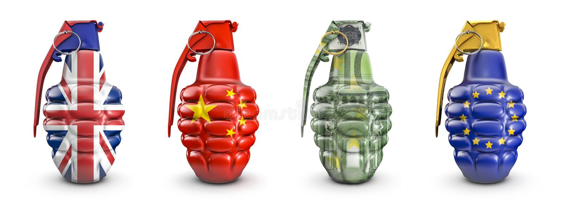 British, Chinese, 100 euro and EU grenades vector illustration