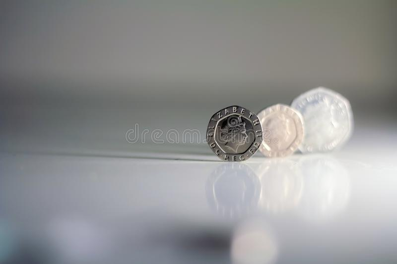 British coins isolated on white backgrounds. Saving money, incom royalty free stock images