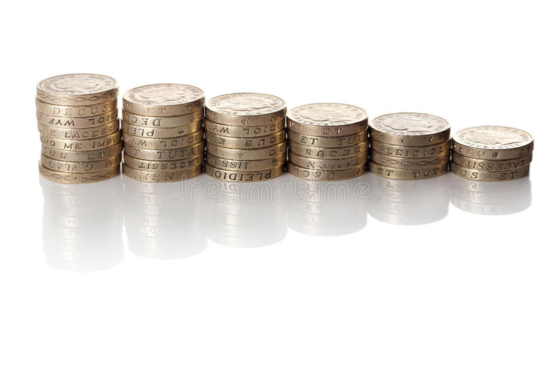 British coins stack royalty free stock images