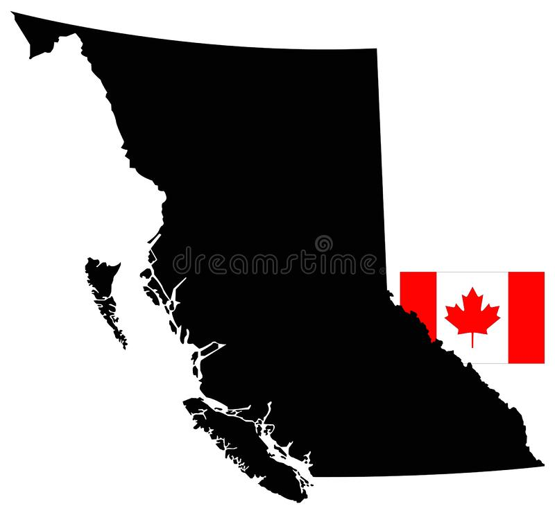 British Columbia map with Canadian flag - westernmost province of Canada vector illustration