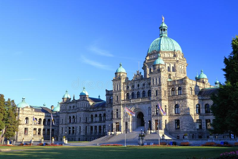British Columbia Parliament Building in Evening Light, Victoria, Vancouver Island, BC, Canada. Evening Light shines on the central part of the British Columbia stock photos