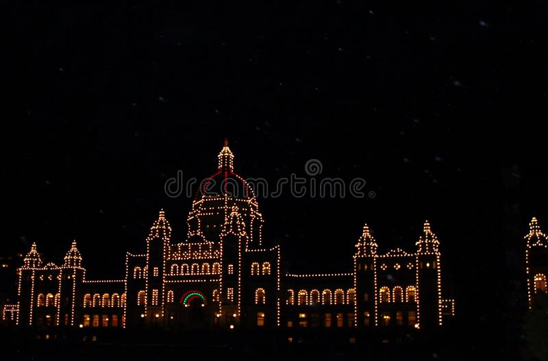 BC Parliament buildings Christmas lights at night stock images