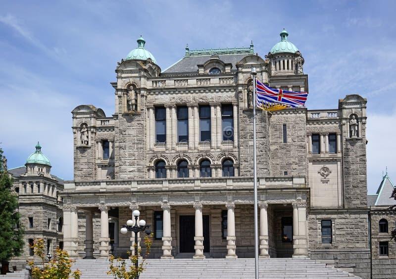 British Columbia provincial Parliament Building. British Columbia flag at south entrance of provincial Parliament Building royalty free stock images
