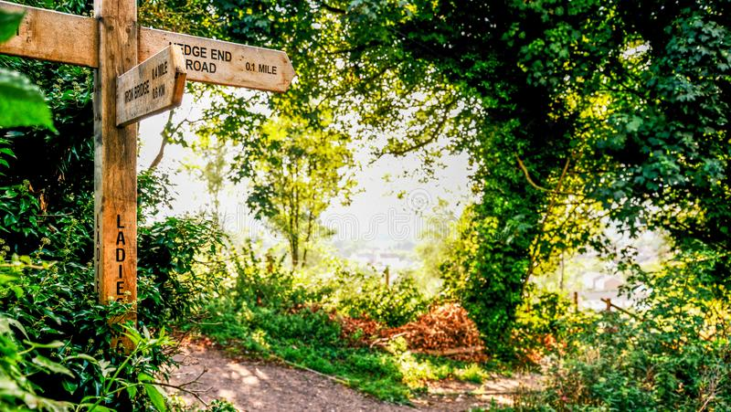 British countryside sign post on a public footpath royalty free stock photography
