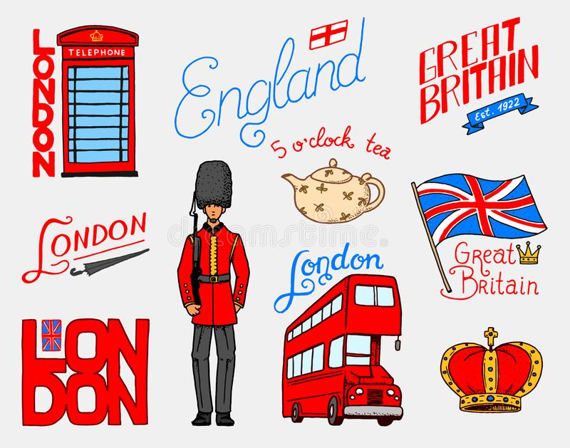 British, Crown and Queen, teapot with tea, bus and royal guard, London and the gentlemen. symbols, badges or stamps. Emblems or architectural landmarks, United vector illustration