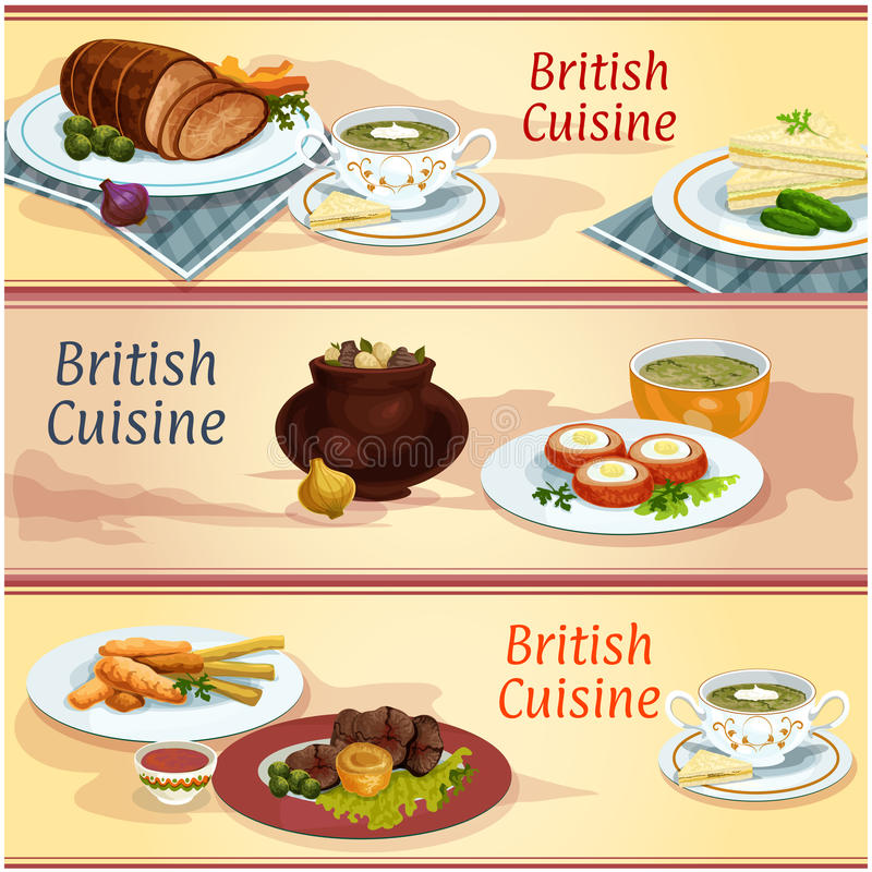 British cuisine main and snack dishes banner set royalty free illustration