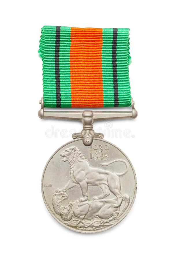British Defense Medal. World War Two British Defense Medal Isolated on White Background stock image