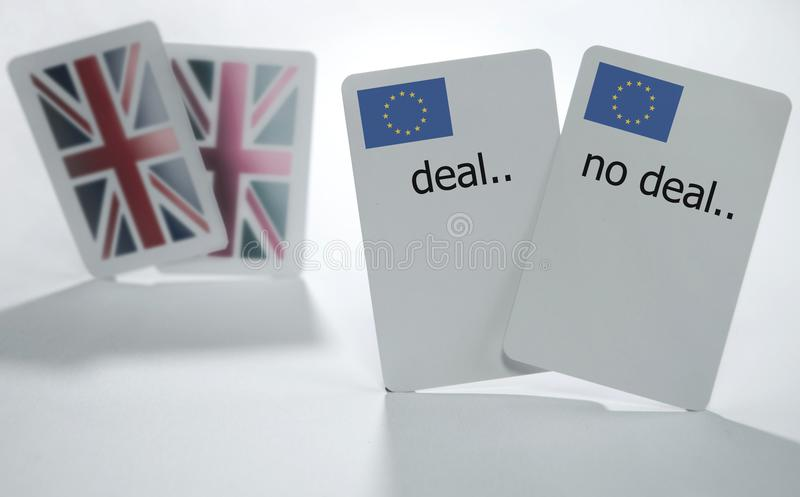 Brexit. British and European playing cards with deal and no deal cards stock photo