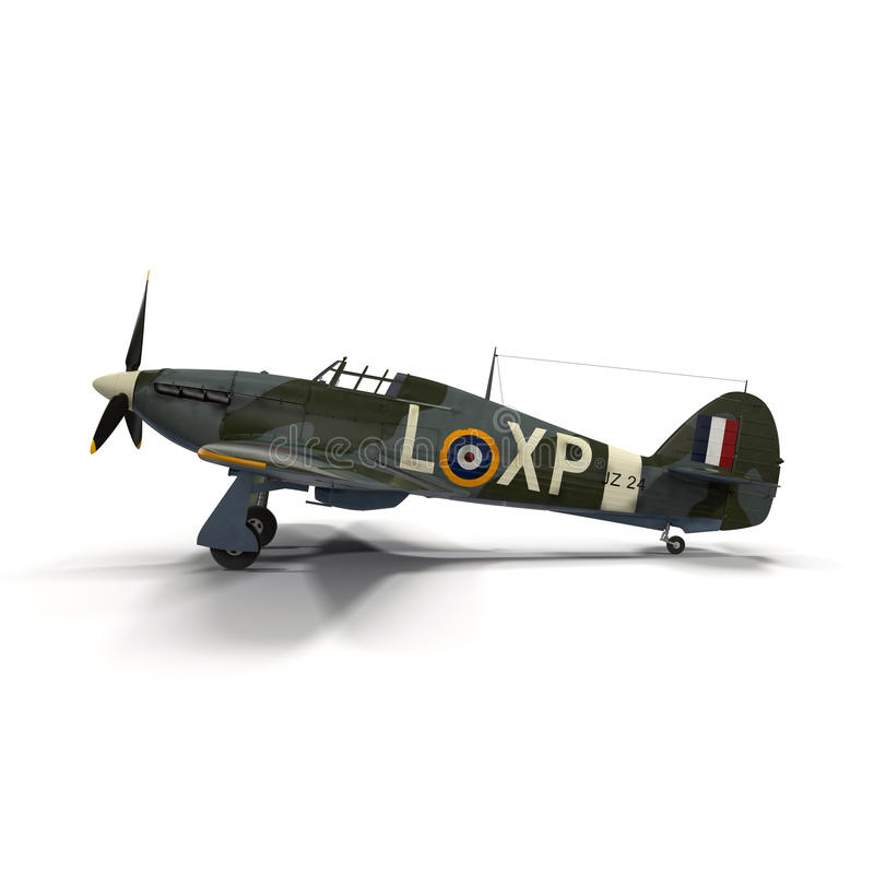 British Fighter Aircraft Hawker Hurricane on White Background vector illustration