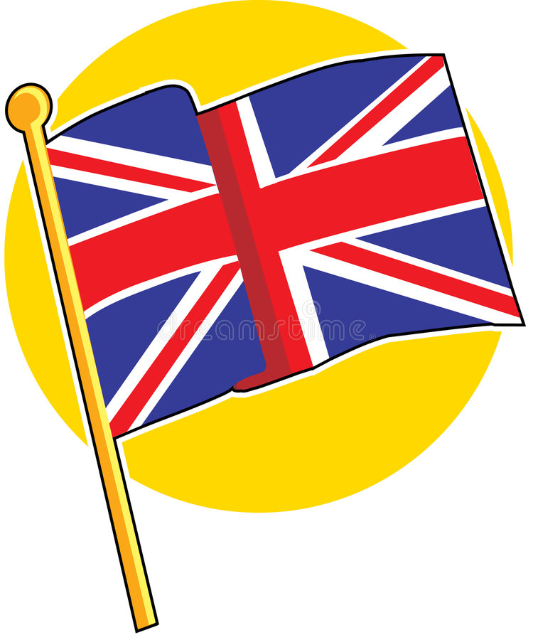 British Flag. The British flag on a yellow circle royalty free illustration