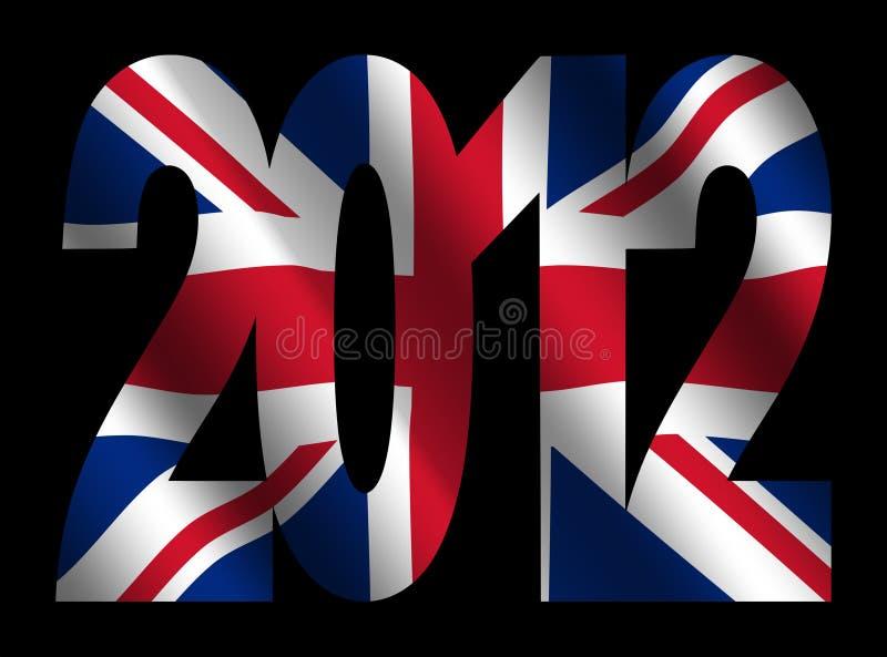 British flag and 2012 text stock photos