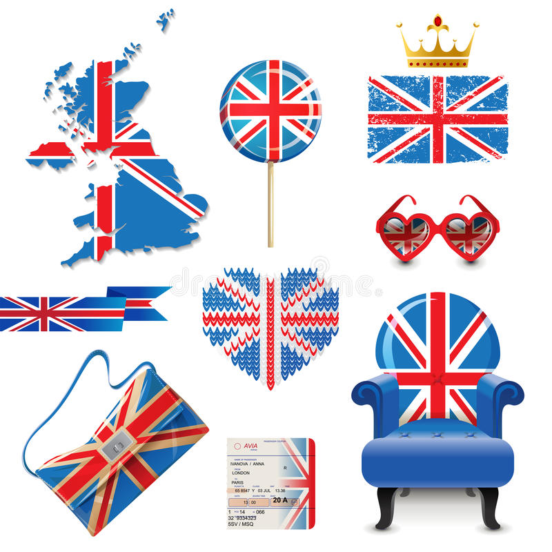 British flag. Design elements in British flag colors stock illustration