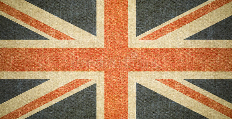 British flag background on old canvas texture stock image