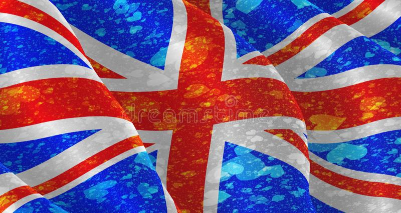 Illustration of a flying British Flag with hearts scattered around stock illustration