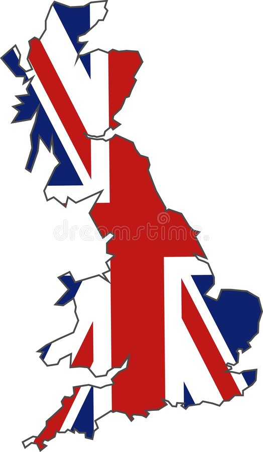 British Flag Map. Map of Britain and the union jack illustration