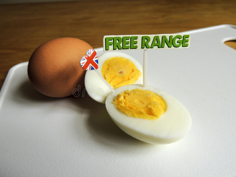 British food: free range, organic, hard boiled eggs. Free range, organic eggs with 'free range' sign and British flag royalty free stock photos