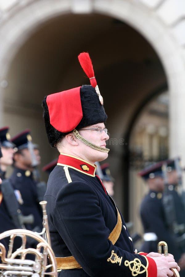 British Guard profile at Buckingham Palace. Tuesday, October 2, 2007: British Guard profile during changing of the guards at the Buckingham Palace in London stock images