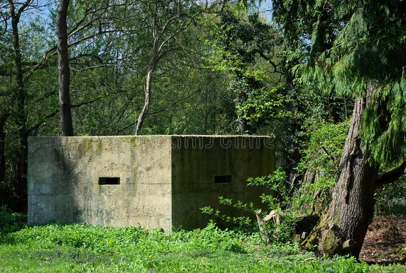 WWll anti invasion CONCRETE Pill box. British hardened field defence of World War II were small fortified structures constructed as a part of British anti stock photos
