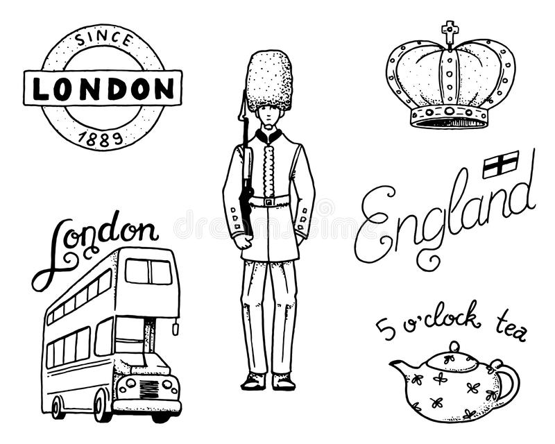 British Logo, Crown and Queen, teapot with tea, bus and royal guard, London and the gentlemen. symbols, badges or stamps. Emblems or architectural landmarks stock illustration