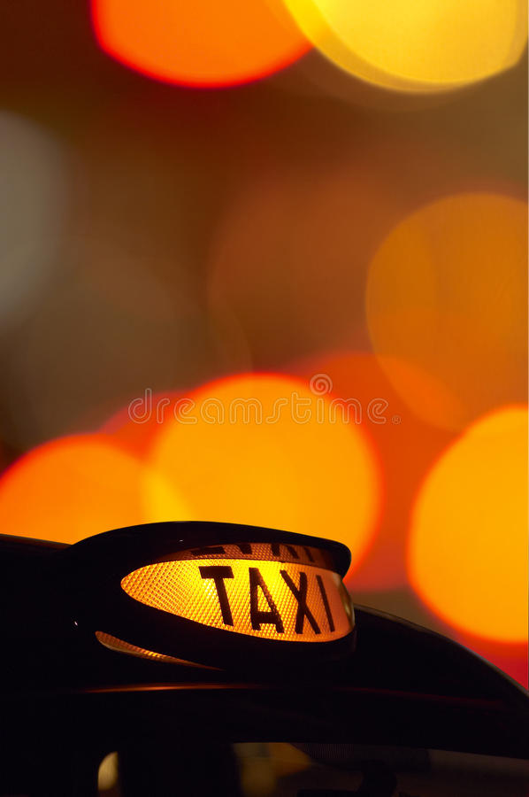 Download British London Black Taxi Cab Sign At Night With C Stock Photo - Image of background, tousist: 15396166