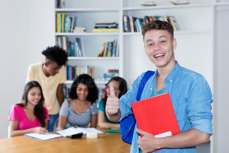 British male student with group of international students stock image