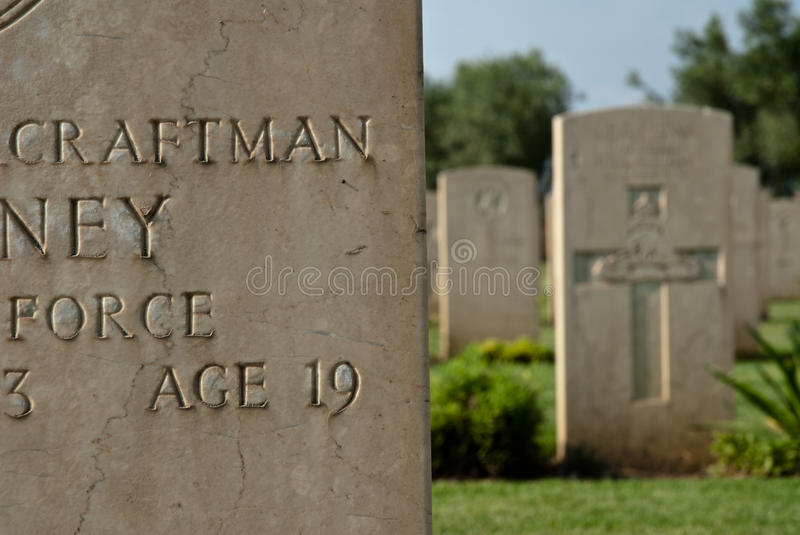 British Military Memorials And Cemetery In Sicily Editorial Stock Image
