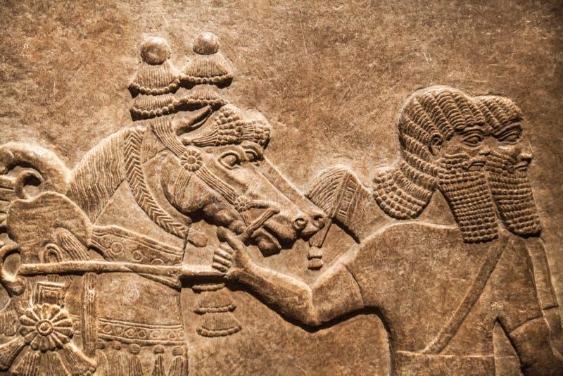 British Museum Alivio del palacio de Assurbanipal en Nínive, Assyria de la caza imagen de archivo