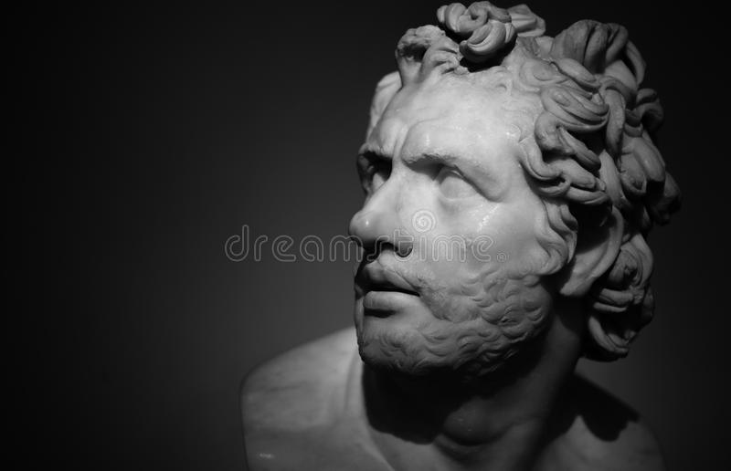 British museum bust. Classical roman bust carved from marble in the British museum, London royalty free stock photo