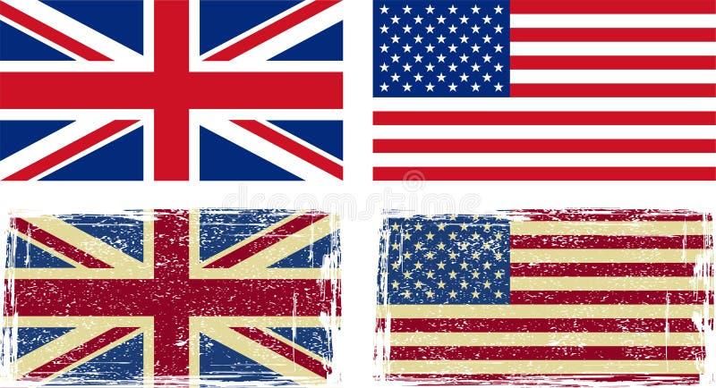 British och amerikanska flaggan stock illustrationer