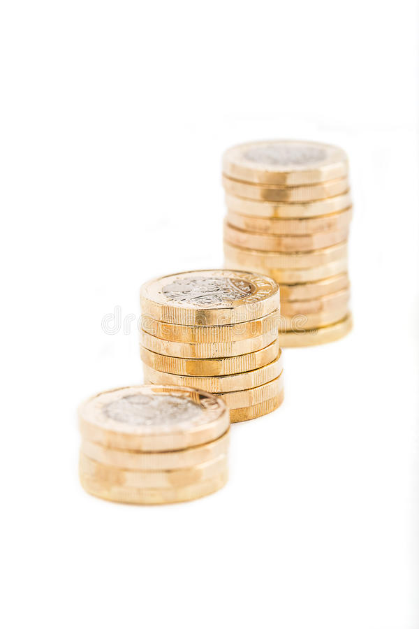 British one pound coins stock image