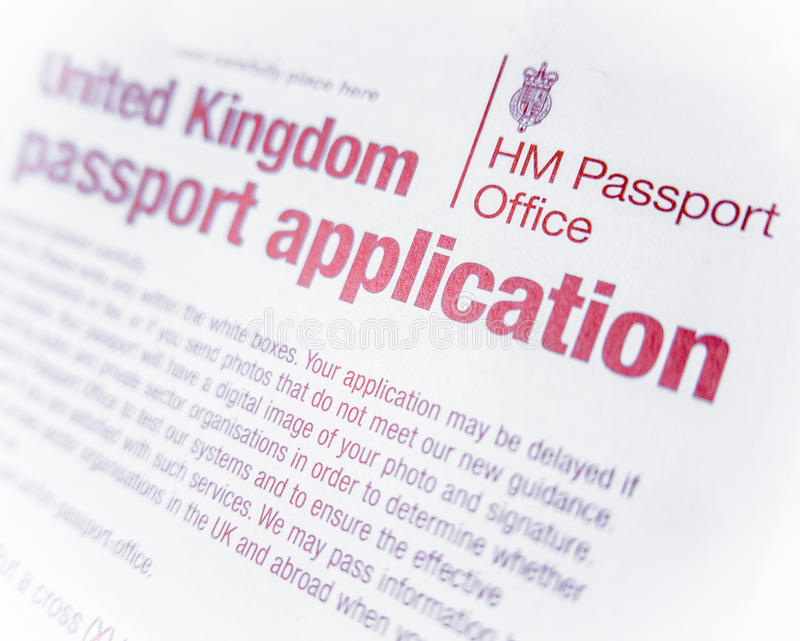 British Passport Form Stock Image Image Of Form Document 52450891