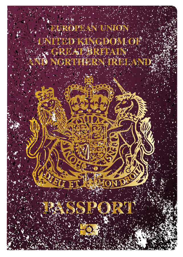 British Passport. The front cover of a new british passport stock illustration