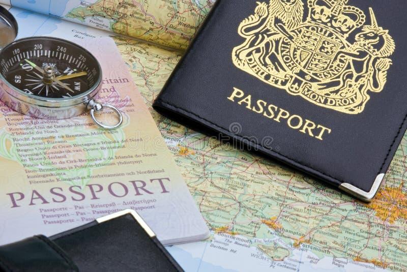 British passport and map. United Kingdom passport and map stock image