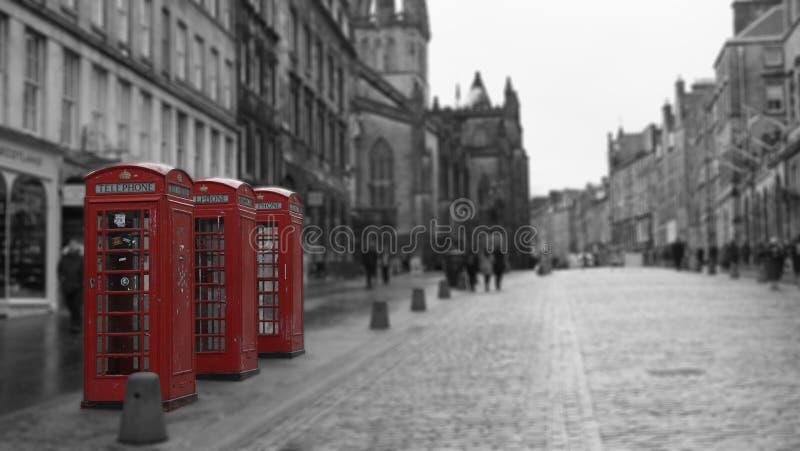 British Phone Booths in Edinburgh, Scotland royalty free stock photos