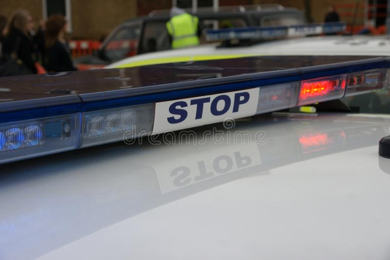 British police car at incident, royalty free stock photography