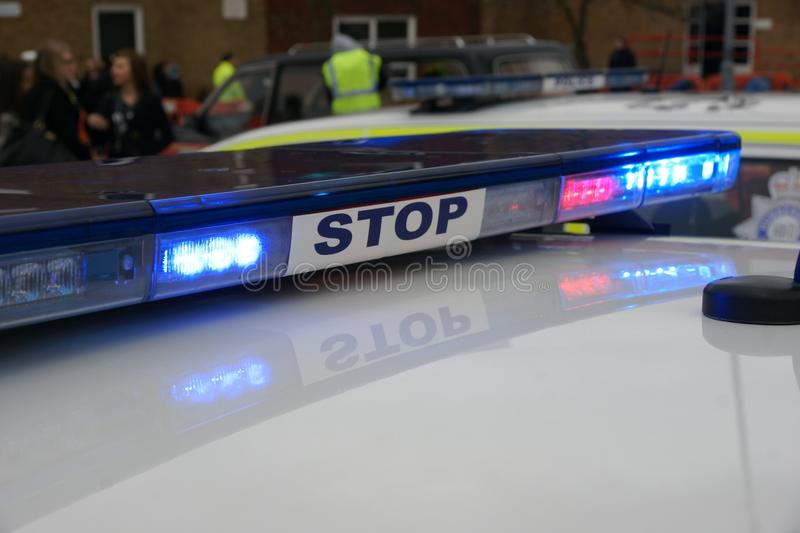 British police car at incident, stock images