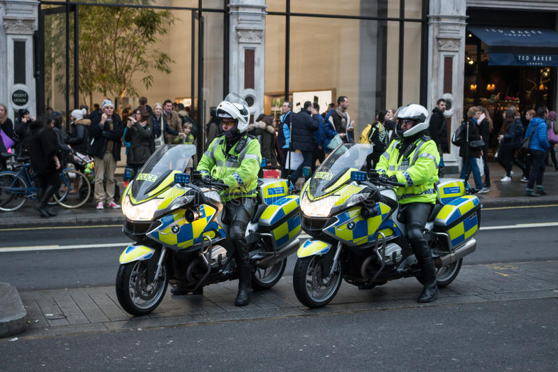 British Police on the motorcycles in London stock images