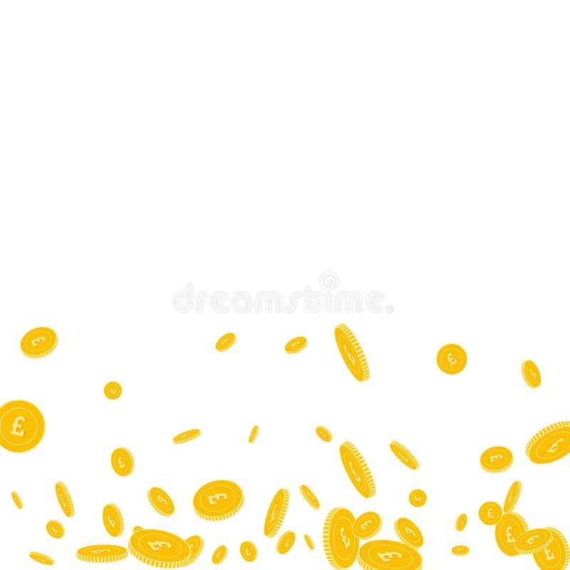 British pound coins falling. Scattered disorderly. GBP coins on white background. Noteworthy scatter bottom gradient vector illustration. Jackpot or success royalty free illustration