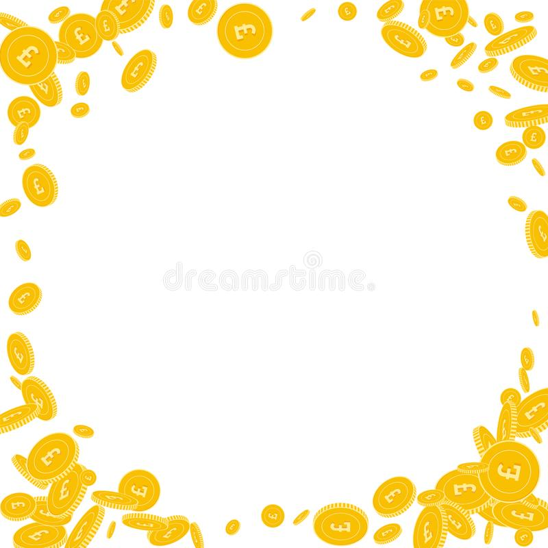 British pound coins falling. Scattered disorderly. GBP coins on white background. Sublime corner frame vector illustration. Jackpot or success concept royalty free illustration