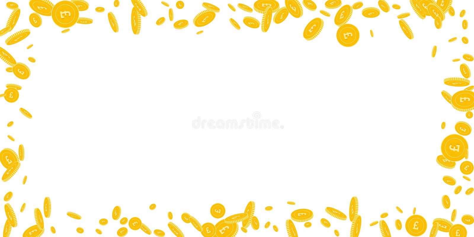 British pound coins falling. Scattered disorderly. GBP coins on white background. Nice wide scattered frame vector illustration. Jackpot or success concept royalty free illustration