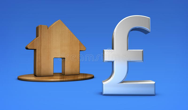 British Pound And Home Icon Uk Property Values Concept Stock