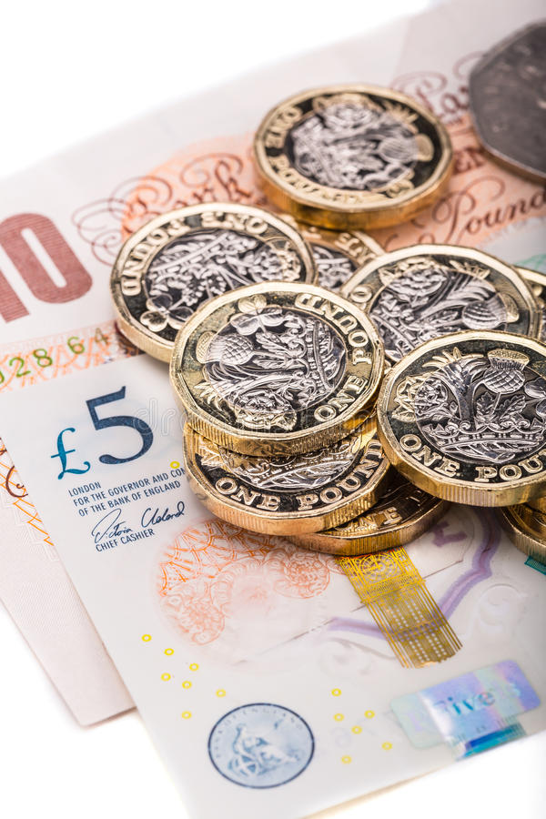 pound currency notes and coins