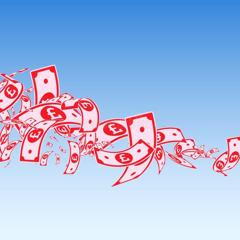 British pound notes falling. Messy GBP bills on bl stock illustration