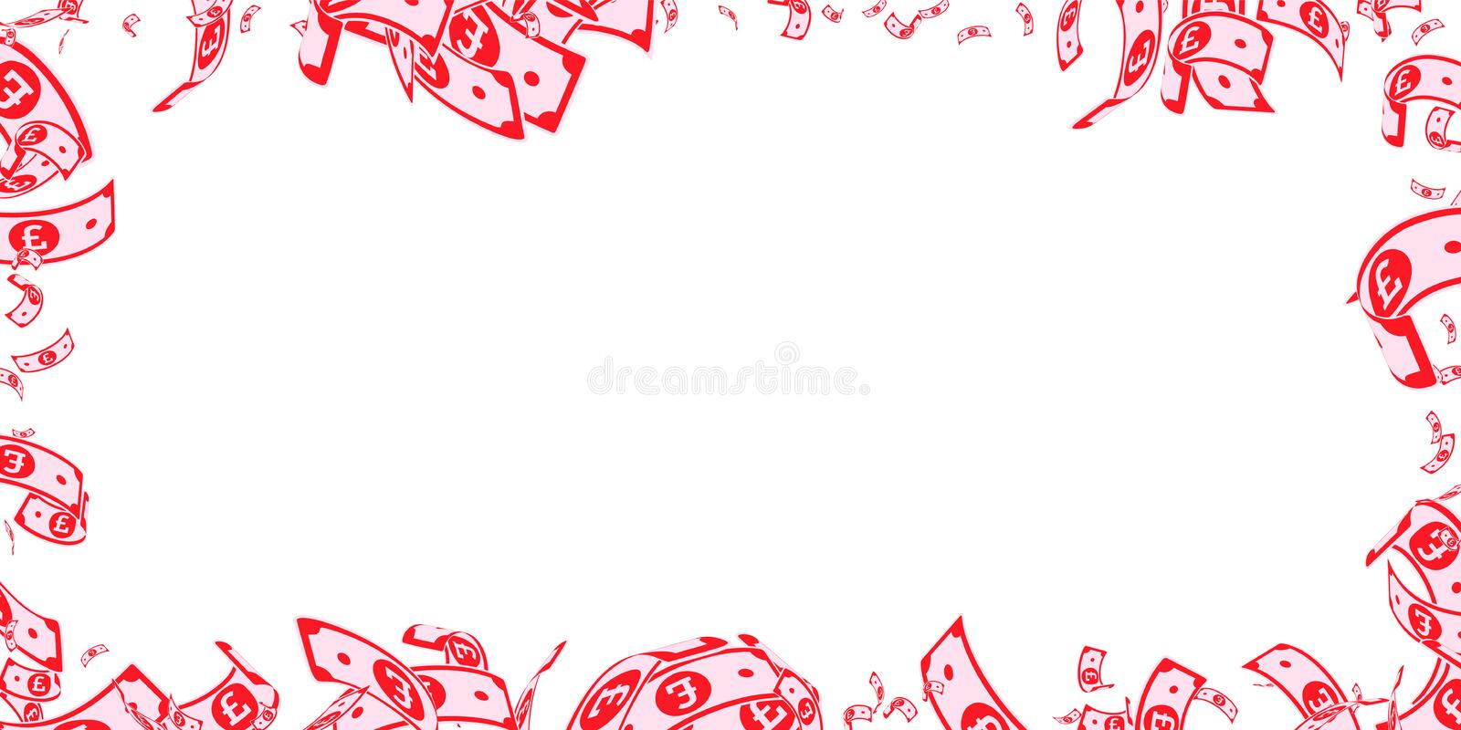 British pound notes falling. Messy GBP bills on wh royalty free illustration