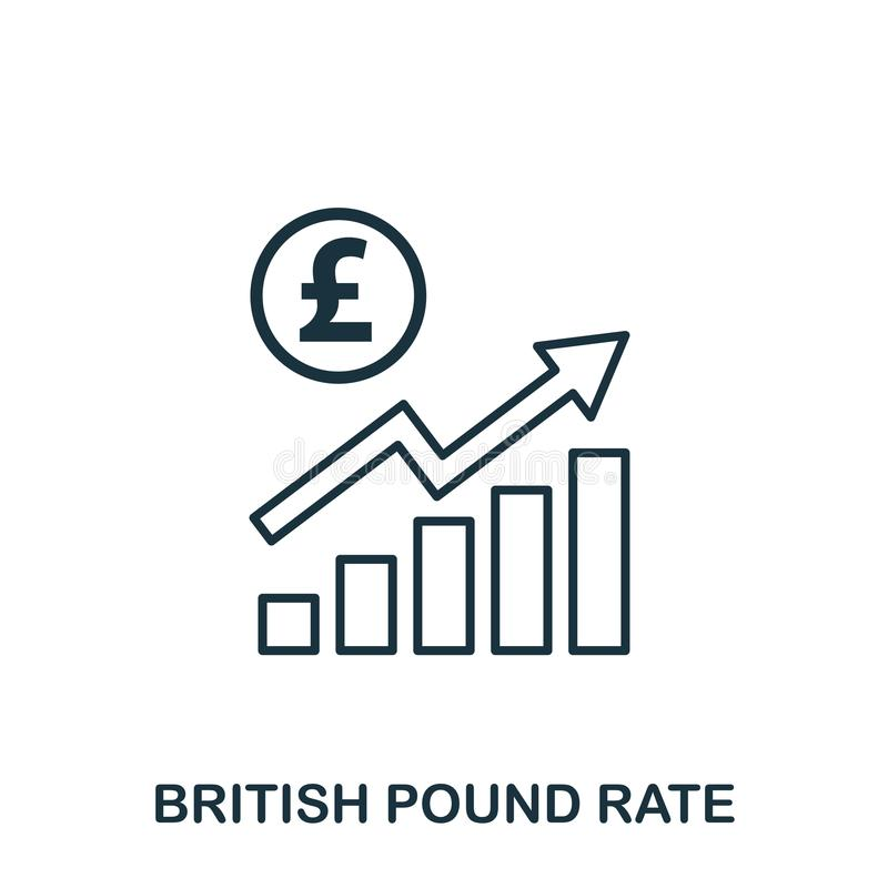 British Pound Rate Increase Graphic icon. Mobile apps, printing and more usage. Simple element sing. Monochrome British. Pound Rate Increase Graphic icon vector illustration