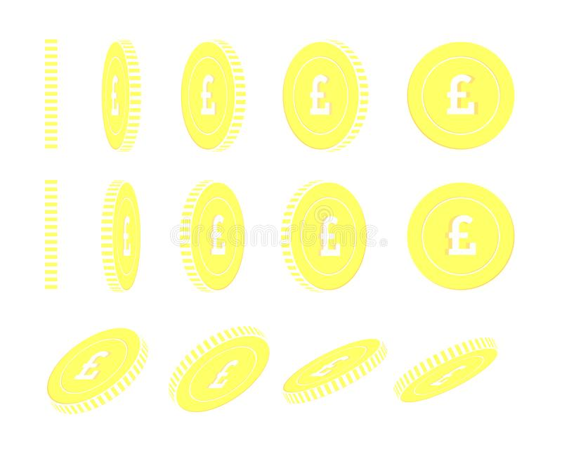 British pound rotating coins set, animation ready. royalty free illustration