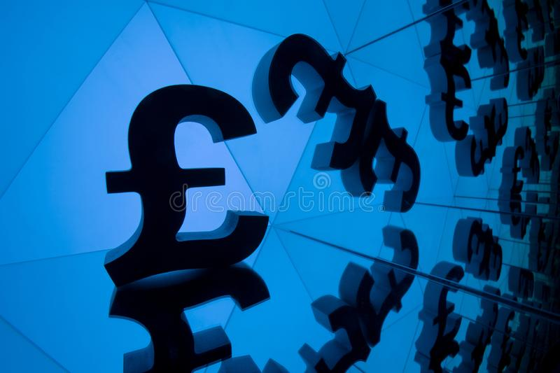 British Currency Symbol With Many Mirroring Images of Itself stock images