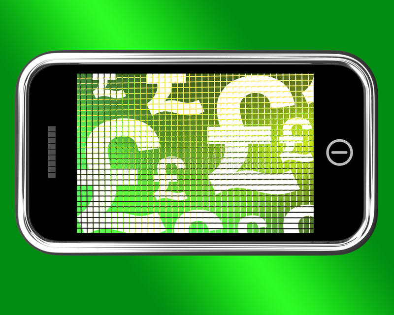 British Pounds Signs On Mobile stock illustration