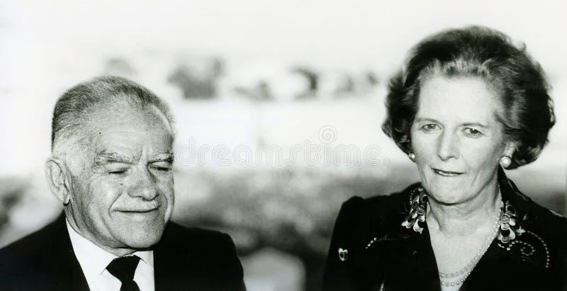 Yitzhak Shamir and Margaret Thatcher stock images