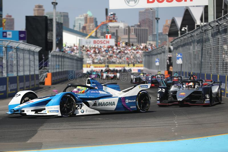British professional racing driver Alexander Sims of  BMW Andretti Team driving his Formula E car 27 during 2019 NYC E-prix. NEW YORK - JULY 14, 2019: British stock image